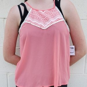 Charlotte Russe coral strappy top with lace detail